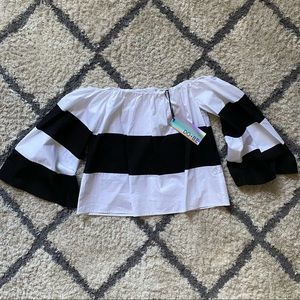 Monochrome Colorblock Off Shoulder Top